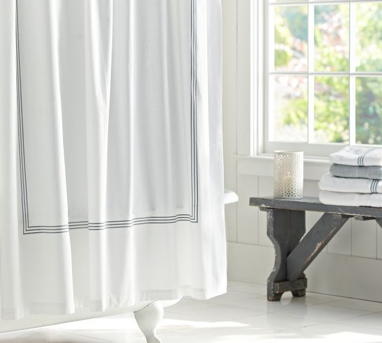 Grand Embroidered Shower Curtain   Pottery Barn