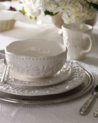 """Bianca"" 16-Piece Dinnerware Service at Horchow.16 Piece Bianca, Dining Room, Teas Time, Tables Sets, Shabby Chic, Dinnerware Service, White Dishes, Neiman Marcus, Holiday Tables"
