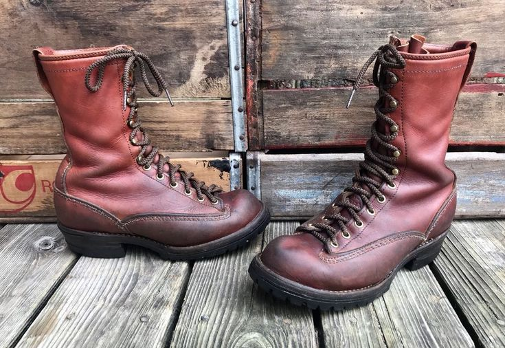 WESCO Burnished Brown Leather Vintage Hunting Logger Boots Men's 8D #Wesco #Boots #Everyday