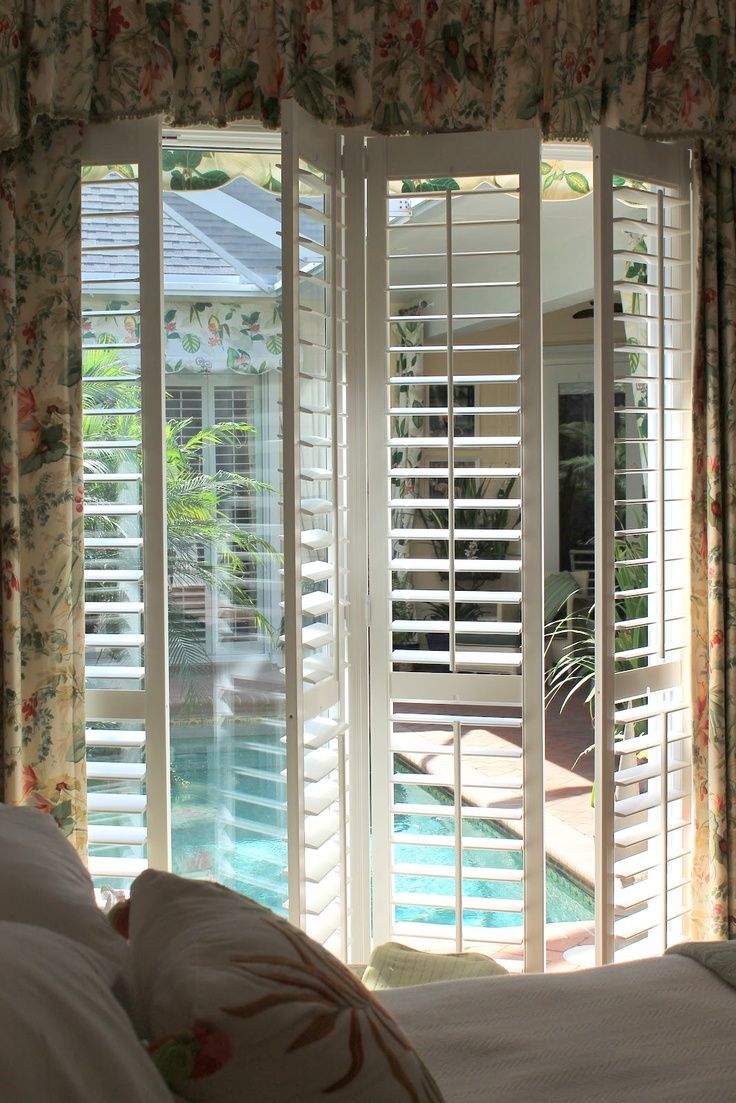 """31/2"""" Traditional Plantation Shutters and Drapery Panels with Rod Pocket Scallop Valance"""