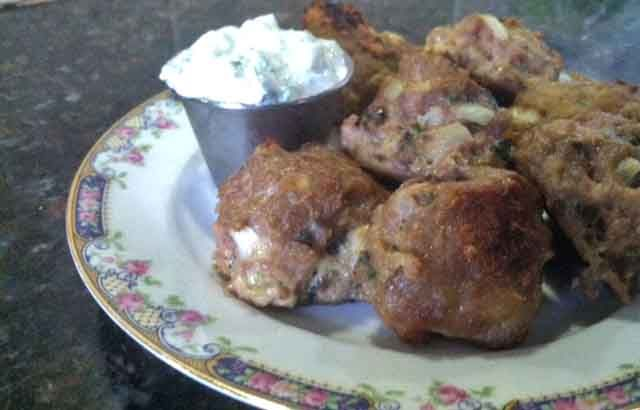 Greek Meatballs paleo-used coconut milk yogurt in tsatsiki sauce