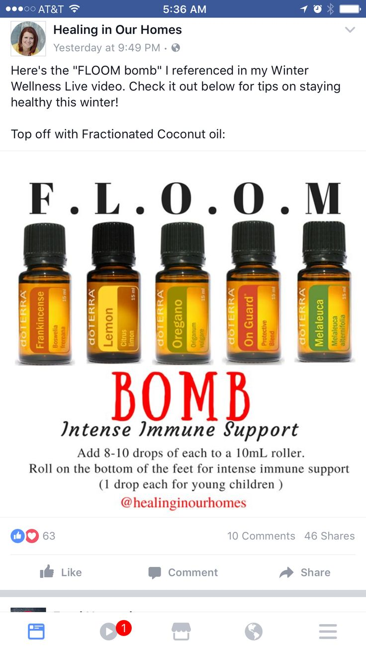 FLOOM bomb: adults: 8-10 drops each. Children: 1 drop each. Top with FCO.