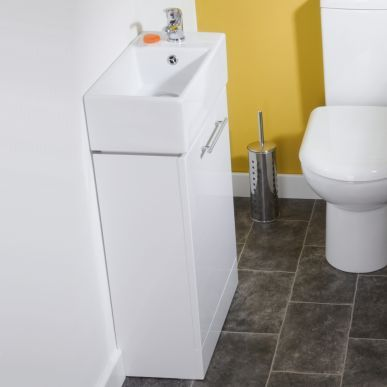 This white gloss vanity unit with basin is a steal at just £74! Great for hiding cleaning product in a small space