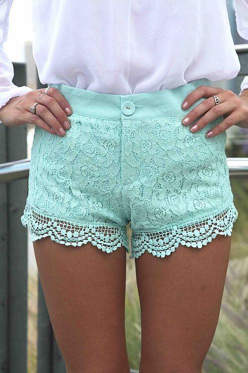 Lace Mint Shorts