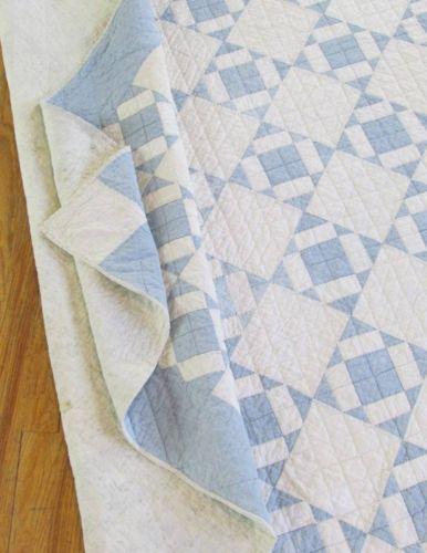 Lovely Antique Blue White Farmhouse Cottage Quilt C1900 | Vintageblessings