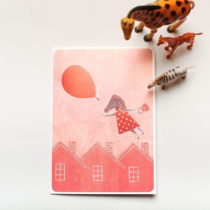 """Greeting Card + Envelope/A6 Joutomaa Onnittelukortti   Kirjekuori """"Ilmapalloretki"""""""