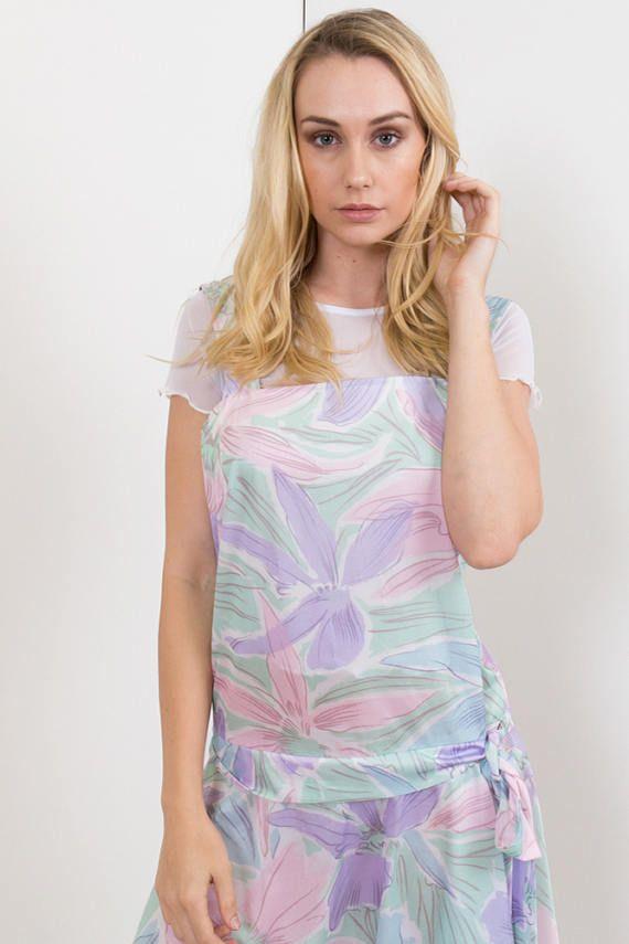 80s Vintage Pastel Floral Print Sundress Dress /Drop-waist