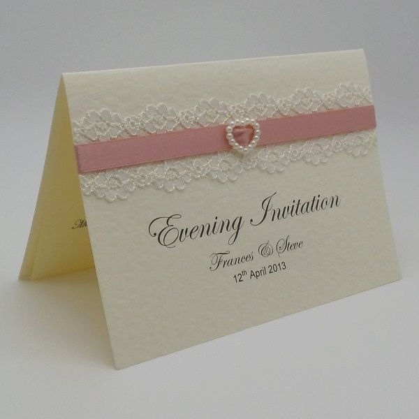 The Pure Innocence Collection  DIY SELF ASSEMBLY KIT INCLUDES 10 OF EACH Suitable for Wedding and/or Evening Invitations A6 opening card with horizontal fold -Quality Hammered Card - Printed Lace Ribbon Choice of Embellishments 120gsm paper insert for your own printing 100gsm envelope DIY SELF ASSEMBLY INVITATIONS AVAILABLE FROM www.vintagelaceweddingcards.co.uk