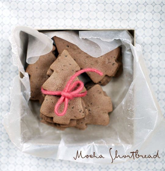 made some mocha shortbread and packaged them for a little gift. Love ...