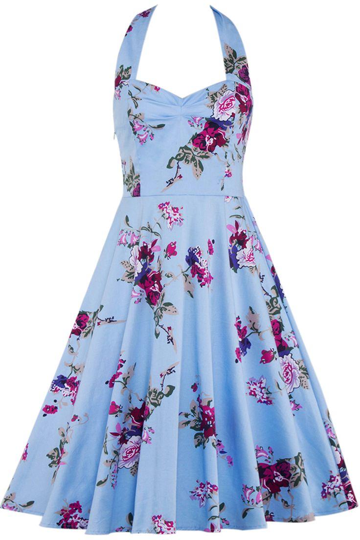$21.84 Halter Neck Floral Swing Dress