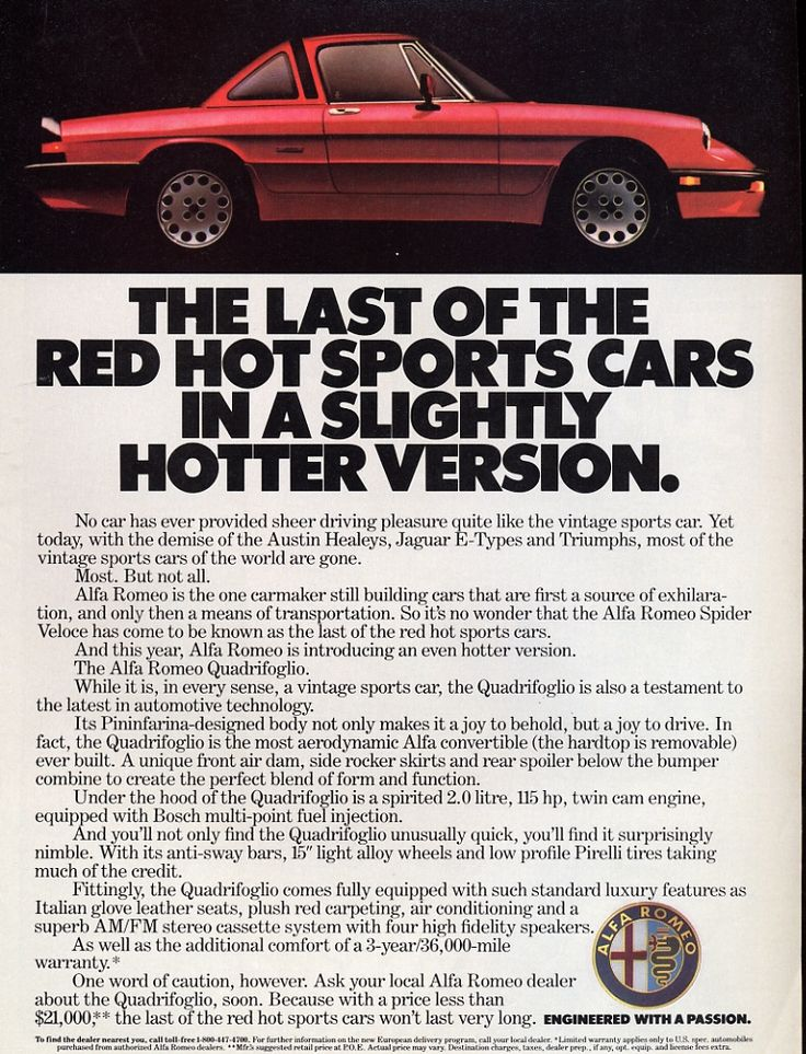 Alfa Last Of The Red Hot Sports Cars Ad