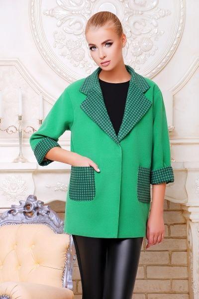 пальто Монэ зеленое с отделкой