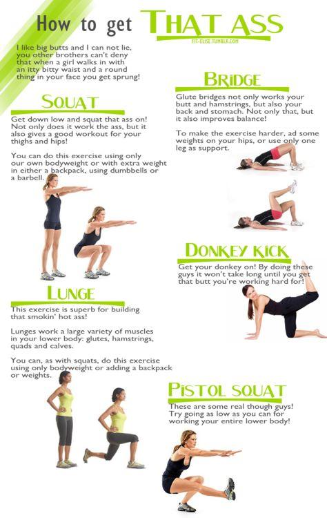 Source: Tumblr (Fit Elise) De her øvelser er alle nogle af mine favoritter, når der skal trænes bagdel!...