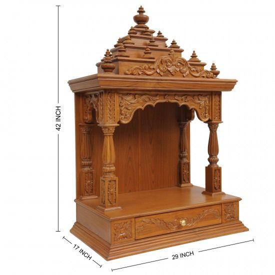Indian Teak Wood Mandir Engraved Beautifully for Sale online - 200812_0925 - Teak Wood Temple, Temples