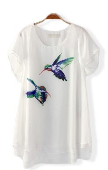 Birds Printing O-neck Short Sleeves Loose Chiffon Casual T-shirt