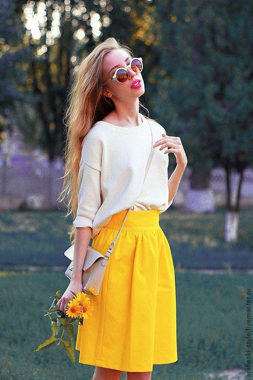 Купить Юбка Колокольчик - жёлтый, однотонный, Яркая одежда, яркая юбка, летняя мода