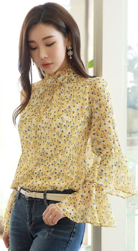 StyleOnme_Floral Print Double Bell Sleeve Blouse #yellow #floral #bellsleeve #koreanfashion #kstyle #kfashion #blouse #springtrend #dailylook
