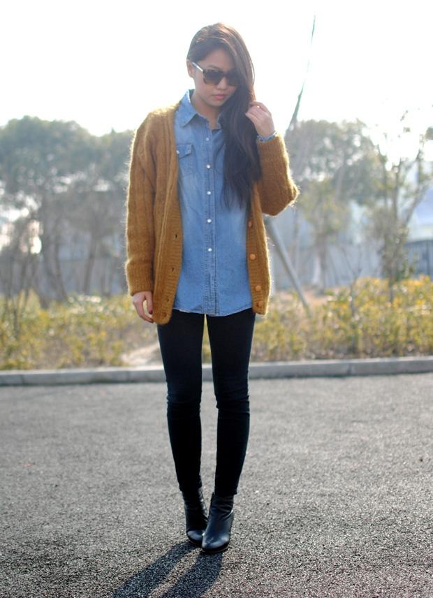 Chambray Shirt, Oversized Ochre Sweater, Black Leggings/Jeans
