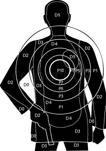 Vector of 'The target for shooting at a silhouette of a man with gun' on Colourbox