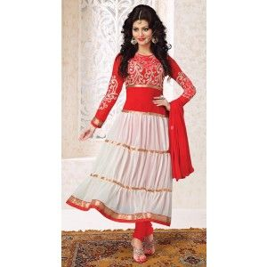 Classy Red & White Salwar Kameez- Contemporary Dress Material