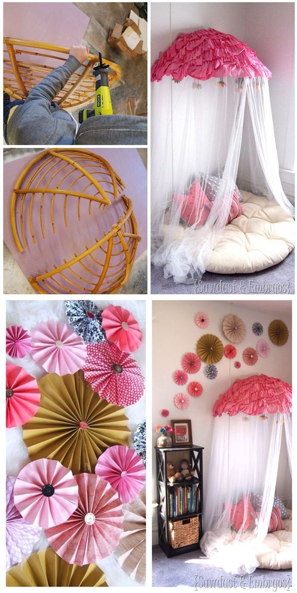 What little girl, or big for that matter, wouldn't love this as a gift?  Papasan Chair into Reading Nook / Canopy! #diy #tutorials #nook