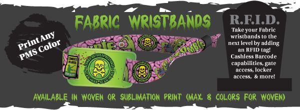 Fabric Sublimation Printed wristbands. Features a one-time-use-closure. Makes the perfect souvenir. Add RFID technology for cashless sales, access to open lockers/entrance control gates, link to social media and website pages, and more! Call to find out more 1-800-361-1259   www.medtechgroup.com #Wristband #Fabric #Cloth #Souvenir #Admission #RFID #Events #Festivals #Halloween