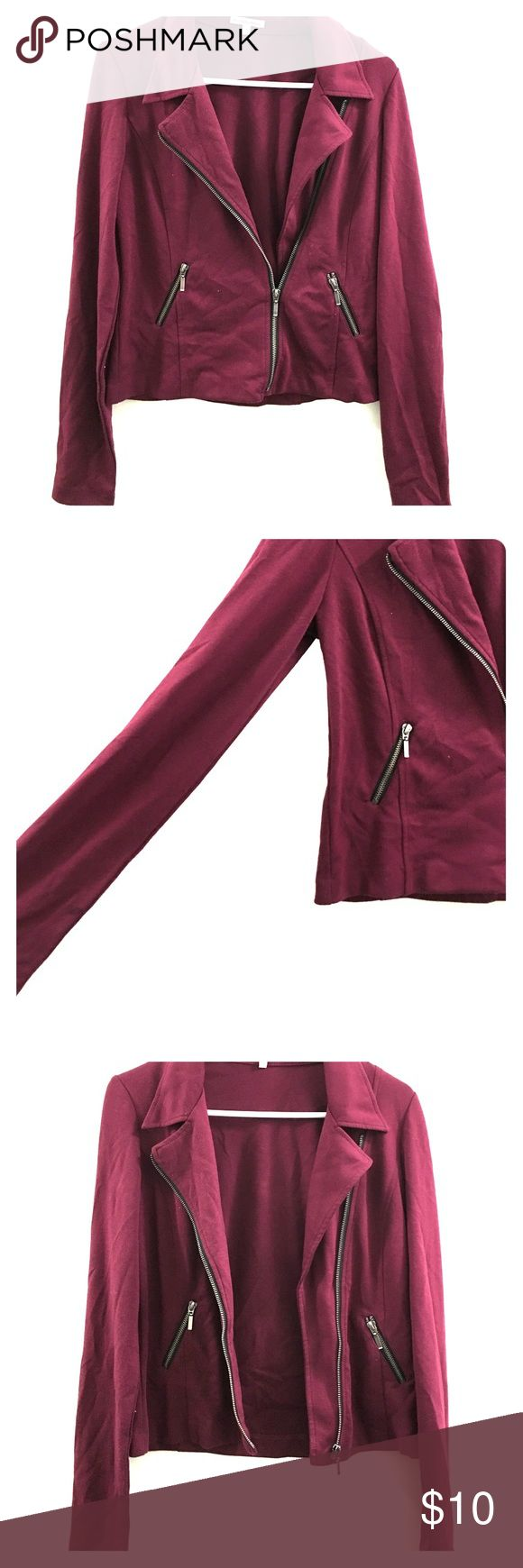 Charlotte Russe maroon blazer Maroon blazer with grey zippers Charlotte Russe Jackets & Coats Blazers