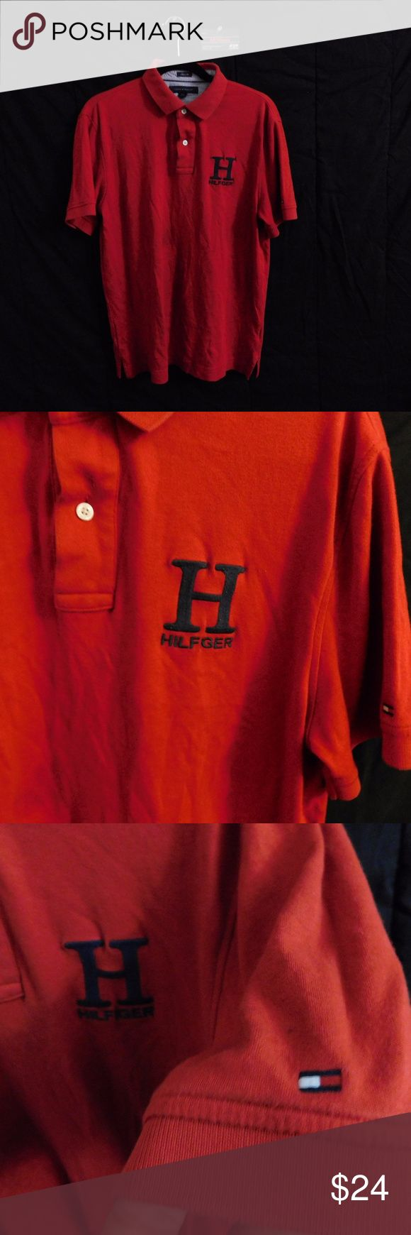 VTG Tommy Hilfiger Polo Shirt Red LARGE USED Vintage Tommy Hilfiger H Logo Spellout Red Polo Short Sleeve Shirt | Mens size LARGE | good condition, minor fading | Slim Fit | flag logo on sleeve  For Discounts Follow Me on Instagram @407vintage !  KEYWORDS/TAGS: ultra boost , Tommy Hilfiger , Polo Sport , Nautica , NMD , supreme , kith , bred , adidas , banned , french blue , stussy , Maestro , vintage , kaws , solefly , trophy room , box logo , gamma blue , retro jordan , steal , foams…