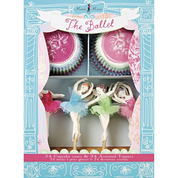 Perfect for a ballerina themed party, this cupcake kit comes with two styles of bake case and four individual dancer toppers embellished with sheer fabric. The