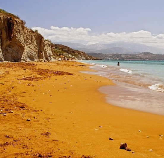 The red sand Xi beach in Kefalonia island, Greece