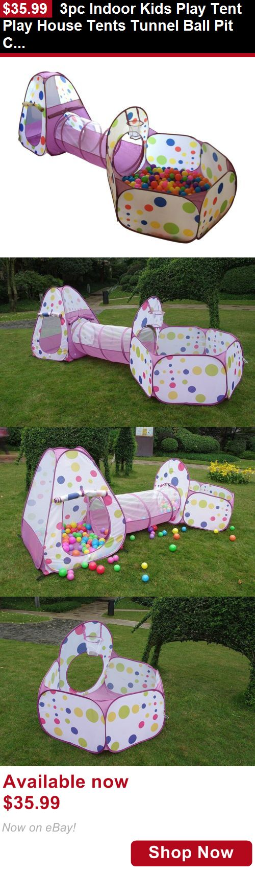 Baby play shades and tents: 3Pc Indoor Kids Play Tent Play House Tents Tunnel Ball Pit Christmas Gift Purple BUY IT NOW ONLY: $35.99