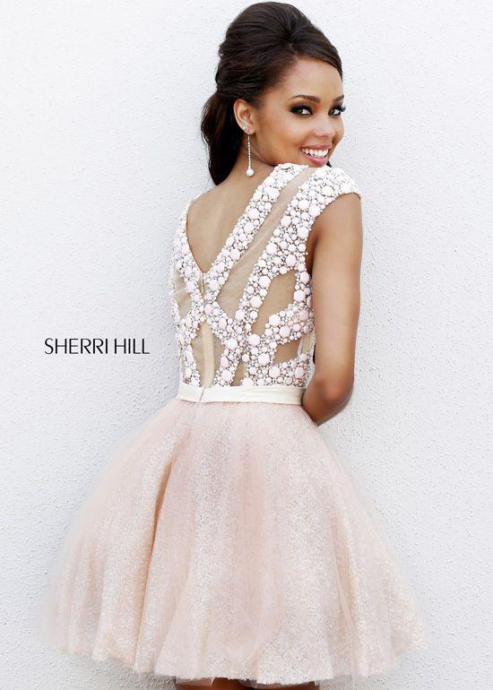 2b459881a34 Sherri Hill 4301 - Blush Beaded Short Homecoming Dresses Online ...
