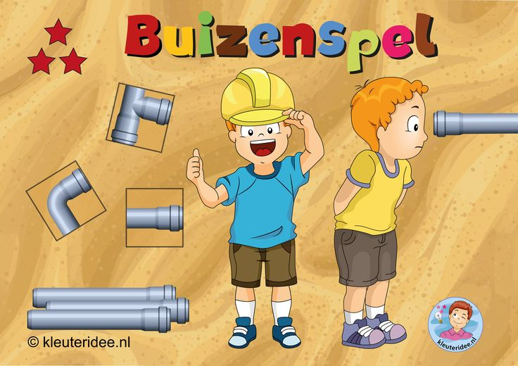 """Spellenpakket """"wij bouwen een huis"""", zes prachtige spellen, Buizenspel voor kleuters, kleuteridee"""