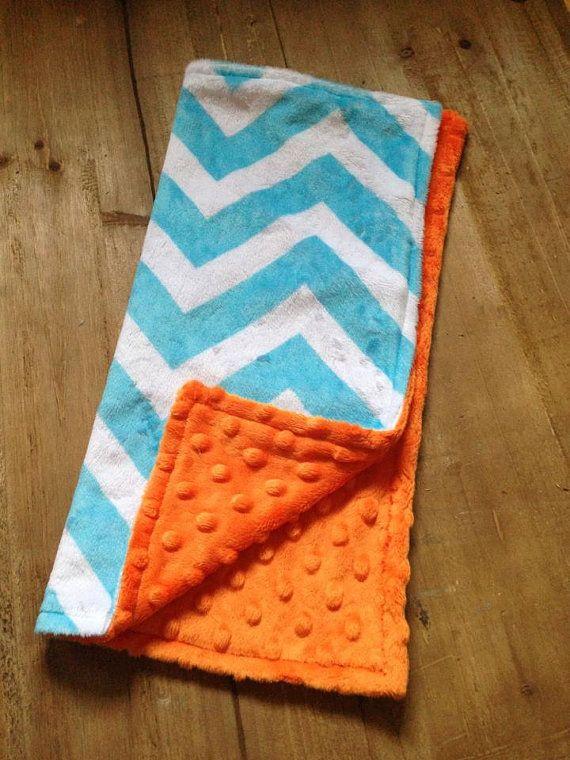 Turquoise and orange chevron Minky blanket