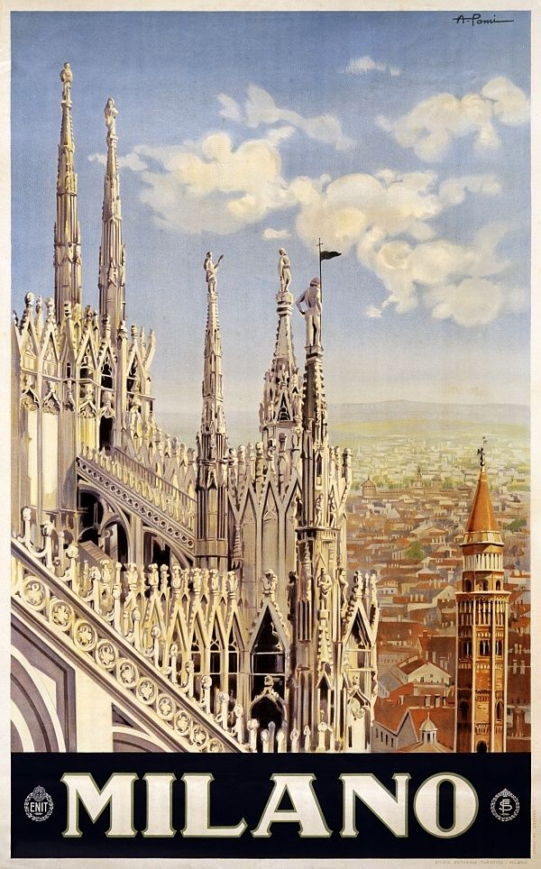 Vintage travel poster for Milan, Italy