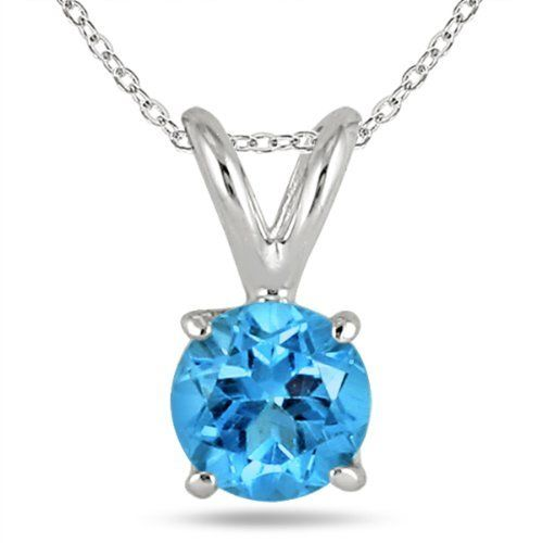 All-Natural Genuine 5 mm, Round Blue Topaz pendant set in Platinum Szul. $799.00. 60 Day Complimentary Repair Service. 30 Day Money Back Guarantee. Complimentary Packaging
