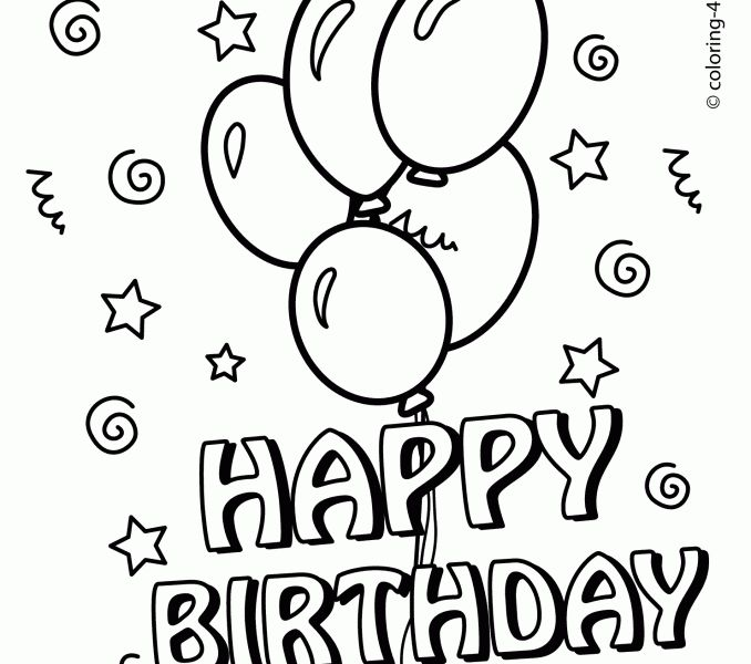 line drawings happy birthday coloring pages for kids fresh in