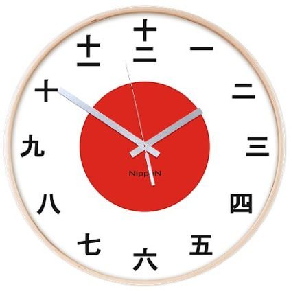 Japanese Wall Clock With Kanji Numerals And Japanese Flag
