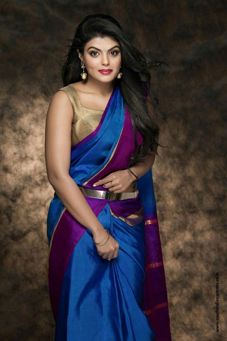 In blue saree