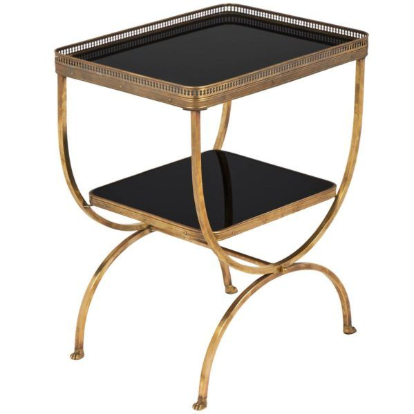 Vintage Black Glass Brass Curule Side Table