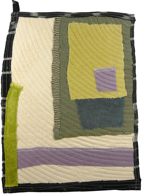 4.1.2012 small art quilt, contemporary, abstract, cotton, linen,rayon, damask, lime, lavender, grey, mustard, sage, cream, black