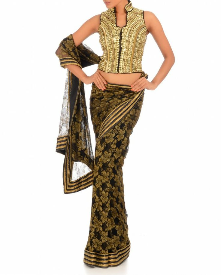 Exclusively.In  Gold & Black Floral Lace Sari with Metallic Golden Studded Blouse, by Annaika