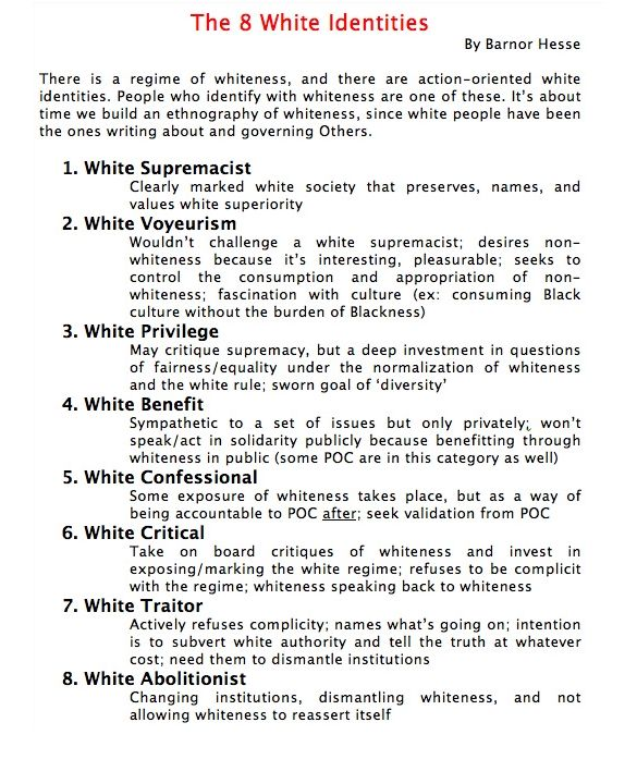 [Click on this image to find a short clip & about the power of white privilege & how to use it to dismantle white supremacy]  The 8 White Identities  There is a regime of whiteness, and there are action-oriented white identities. People who identify with whiteness are one of these. It's about time we build an ethnography of whiteness, since white people have been the ones writing about governing Others. - Source: Barnor Hesse