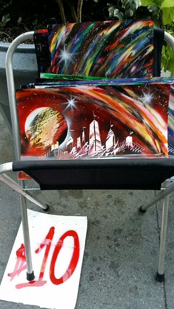뉴욕 거리 예술 공연 - 스프레이 페인트 아트, 엠파이어스테이트 빌딩 앞 Anton을 만나다.