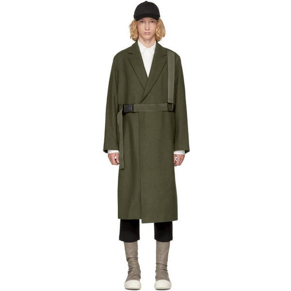 D by D Khaki Strap Belted Coat (8.120.170 IDR) ❤ liked on Polyvore featuring men's fashion, men's clothing, men's outerwear, men's coats, khaki, mens khaki coat, mens fur collar coat, men's wool blend coat and mens double breasted coat