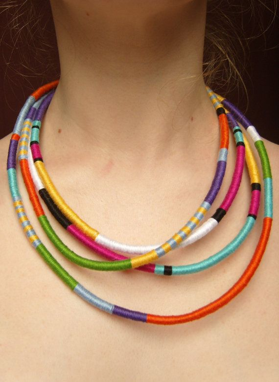African Necklace, Tribal Necklace, Thread Wrap Necklace, Multistrand Statement Necklace UK