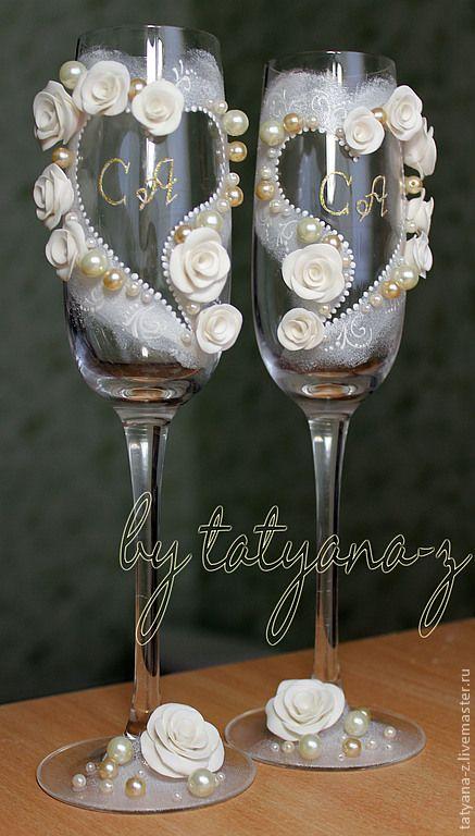 """Купить Свадебные бокалы """"Именные"""" - белый, свадебные бокалы, бокалы для свадьбы, бокалы для молодоженов"""