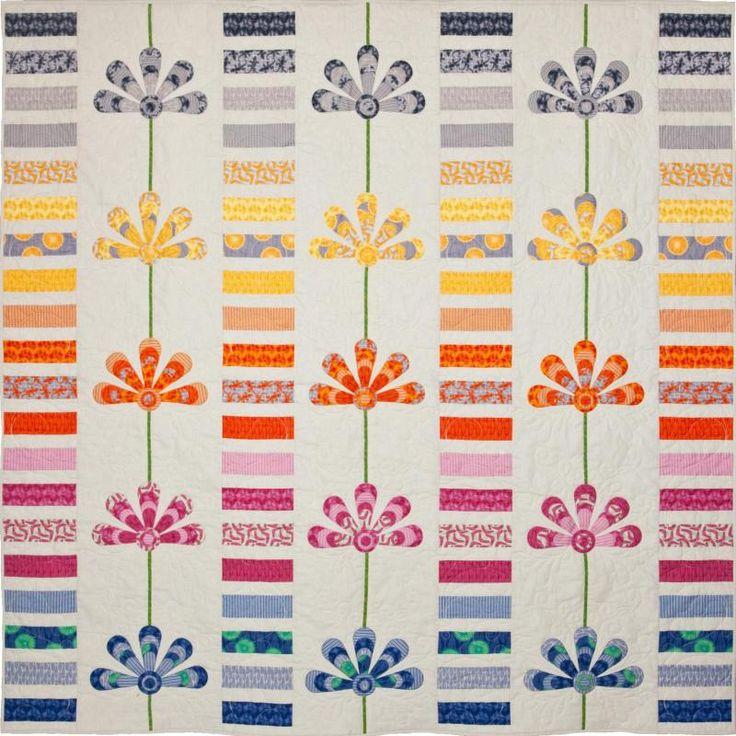 "Australis Blooms Designed By Emma Jansen Finished Quilt Size:  203cm x 203cm (80"" x 80"")"