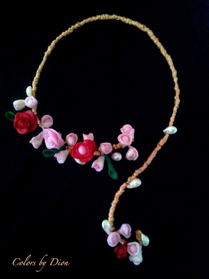 ..handmade necklace of polymer clay,pearls and  dressed wire...
