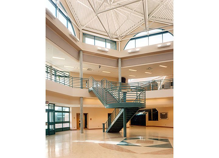 This is the atrium at the real Salmon Arm Secondary, on the right at the back is the science wing.  Quite a leap, eh?